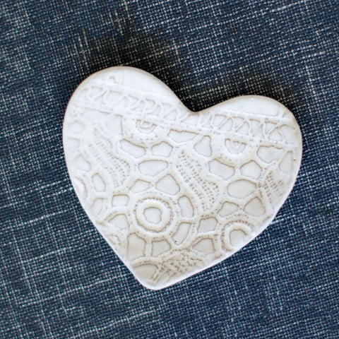 White Heart Shaped Jewelry Dish