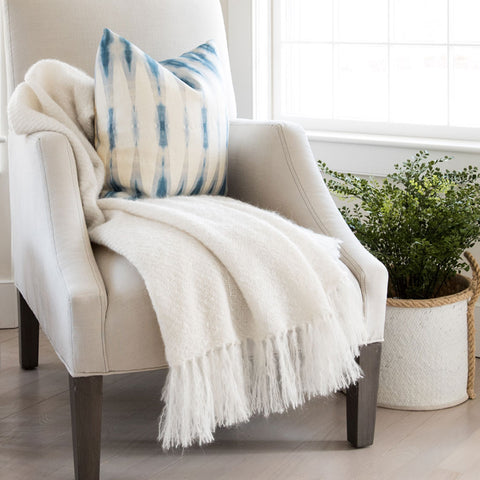 Ivory Handwoven Mohair Throw