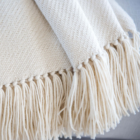 Ivory Handwoven Alpaca Throw