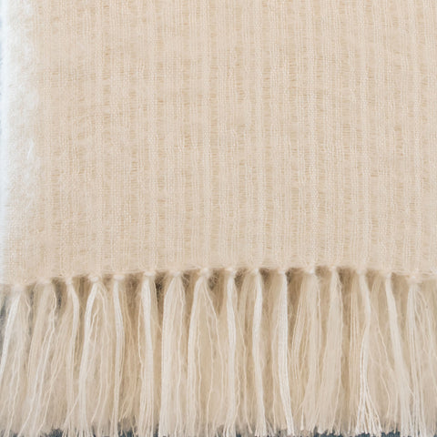 Ivory Mohair & Silk Throw
