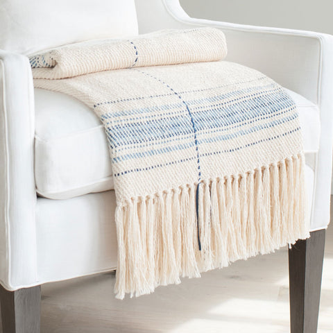 Ivory and Blue Striped Handwoven Cotton Throw