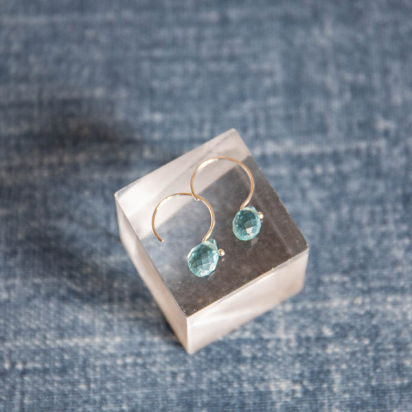 Small Blue Bead Droplet Earrings