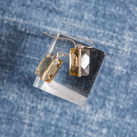 Caramel Cut Glass Earrings