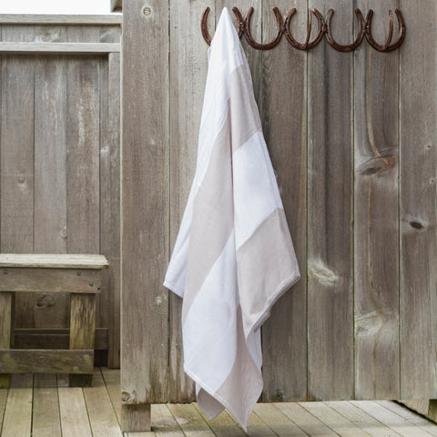 Khaki and White Stripe Beach Towel