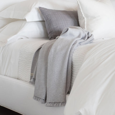 Light Grey Handwoven Cashmere Throw