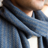 Atlantic Blue & Gray Handwoven Alpaca Scarf