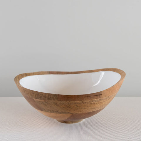 Mango Wood & Enamel Serving Bowl