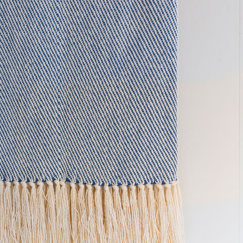 Mariner Blue Handwoven Cotton Throw