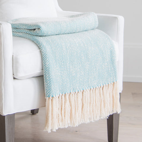 Mermaid Turquoise Handwoven Cotton Throw