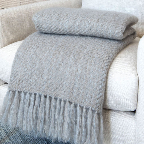 Tom Nevers Taupe Mohair Throw