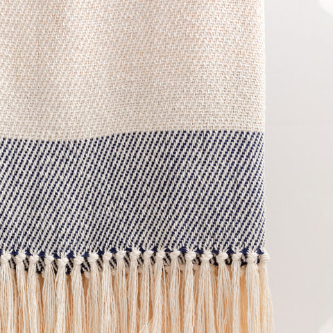 Navy Cabana Stripe Handwoven Cotton Throw