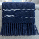 Deep Navy Handwoven Mohair Throw
