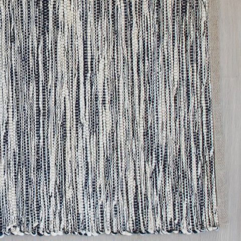 Dark Navy Cotton & Linen Handwoven Rug
