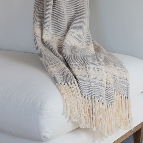 Gray Slate Striped Handwoven Cotton Throw