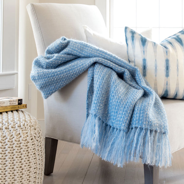 Blue Cirrus Handwoven Mohair Throw