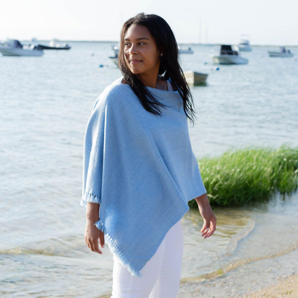 Sky Blue Handwoven Cashmere Poncho