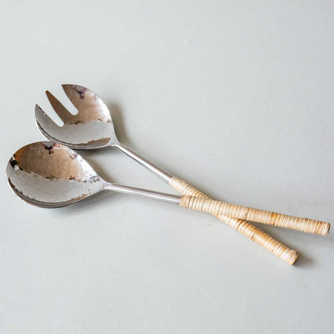 Nickel & Raffia Salad Servers