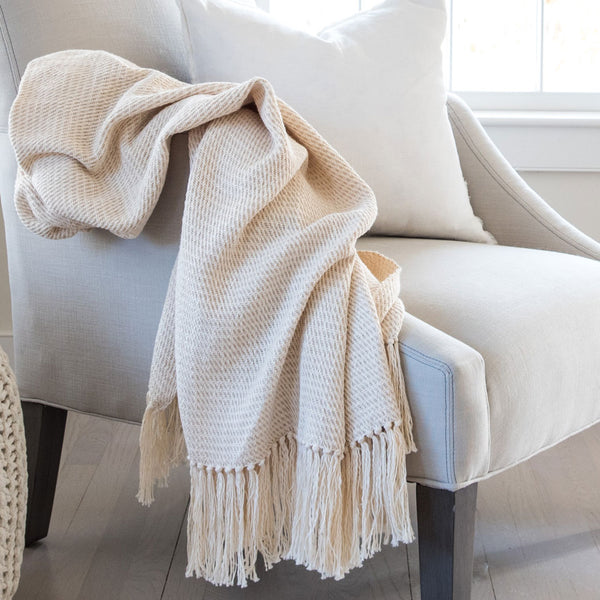 Oatmeal Handwoven Cotton Throw