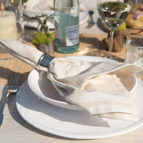 Oatmeal & White Stripe Cotton Napkins