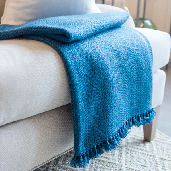 Peacock Blue Handwoven Cashmere Throw