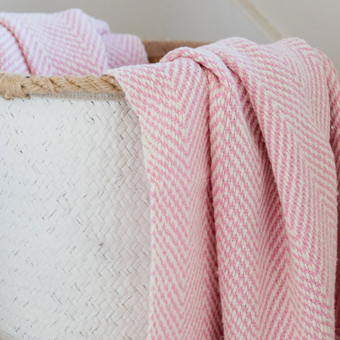 Pink Handwoven Cotton Baby Blanket