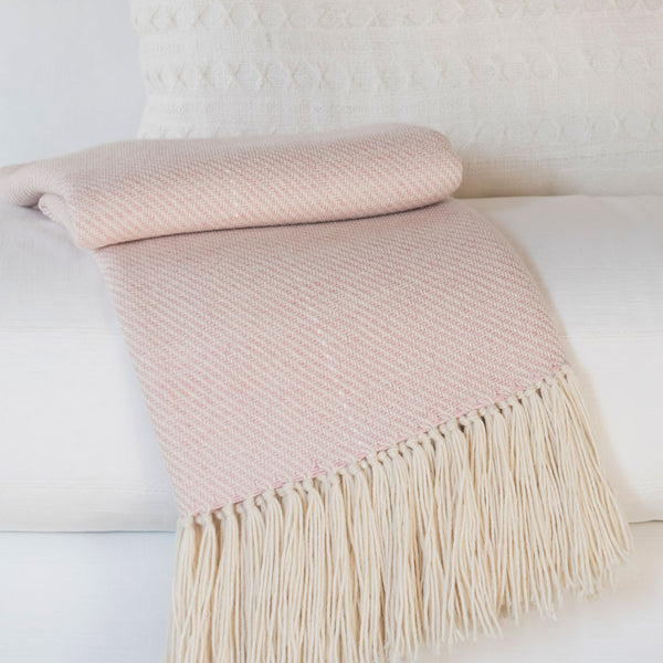 True Pink Handwoven Alpaca Throw