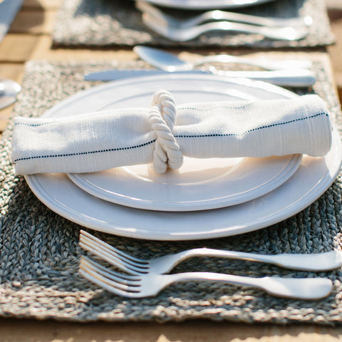 Blue Pinstripe Stripe Cotton Napkins
