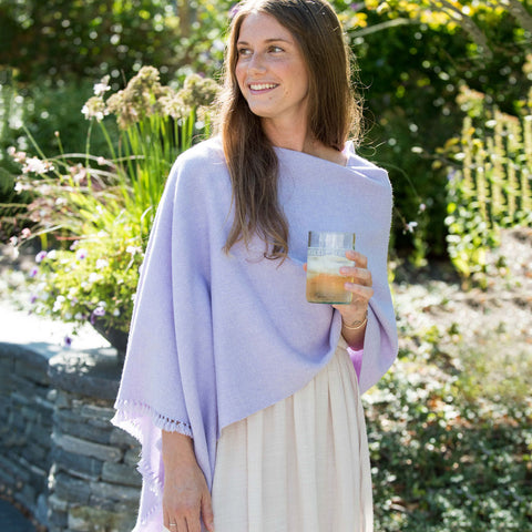 Lilac Handwoven Cashmere Poncho