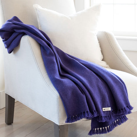 Purple Rain Handwoven Cashmere Throw
