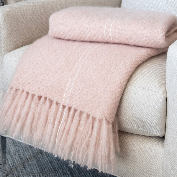 Rose Quartz Handwoven Mohair Throw