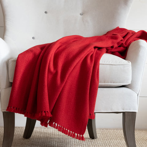 Ruby Red Handwoven Cashmere Throw