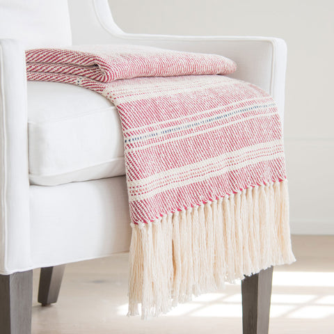 Red and White Handwoven Cotton Throw
