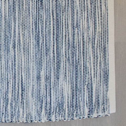 Royal Blue Cotton & Linen Handwoven Rug