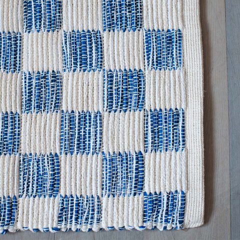 Bright Navy Handwoven Block Rug
