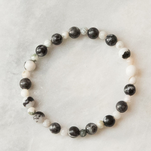 Onyx and White Jasper Beaded Bracelet