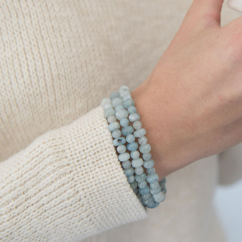 Aquamarine Gemstone Beaded Bracelet