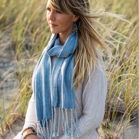 Blue Handwoven Cotton Scarf