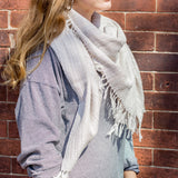 Gray Cotton Handwoven Blanket Scarf