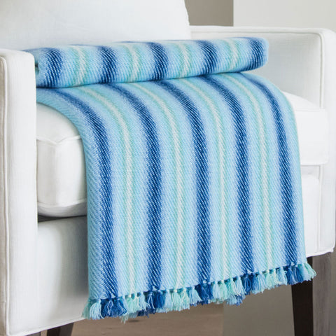 Seven Seas Blue Handwoven Cashmere Throw