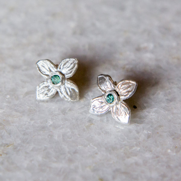 Sterling Silver Hydrangea Floret Earring with Tourmaline