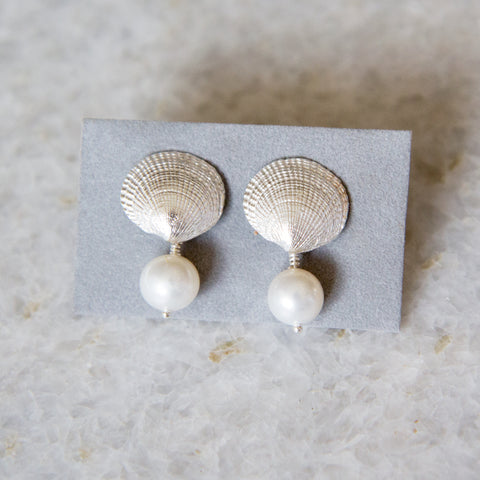 Sterling Silver Clam Shell Earrings with Fresh Water Pearls