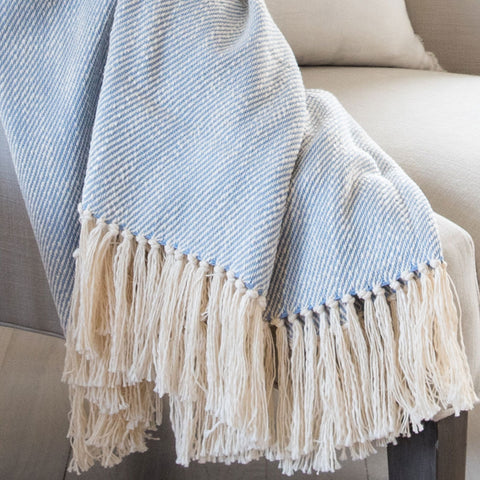 Sky Blue Handwoven Cotton Throw