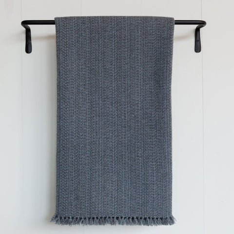 Slate Gray Blue Handwoven Cashmere Throw