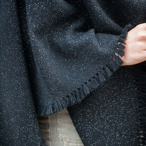 Starry Night Black Handwoven Cashmere Poncho