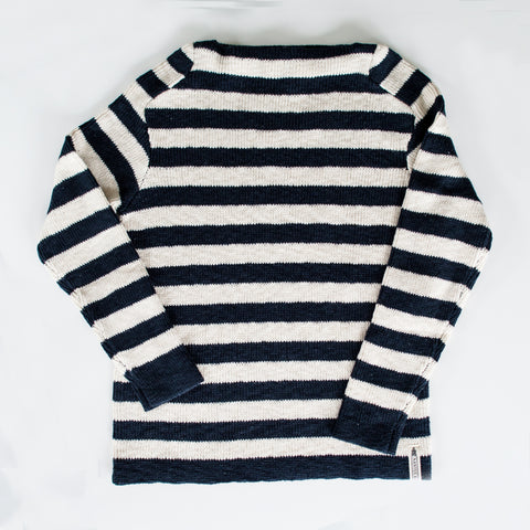 Navy & Cream Stripe Boatneck Sweater