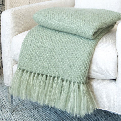 Succulent Green Handwoven Mohair Throw