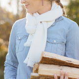 White Handwoven Cashmere Scarf