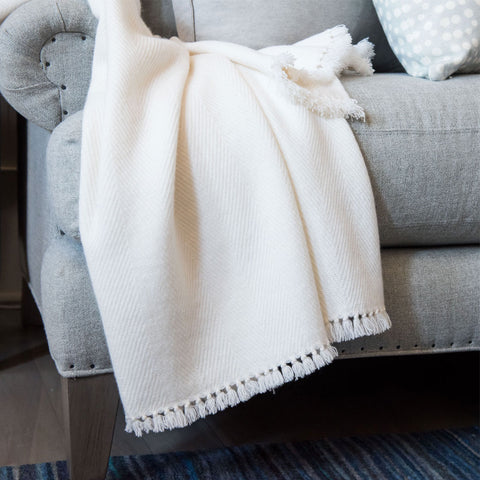 White Handwoven Cashmere Throw