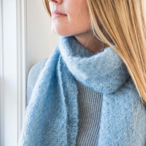 Blue Handwoven Mohair Scarf