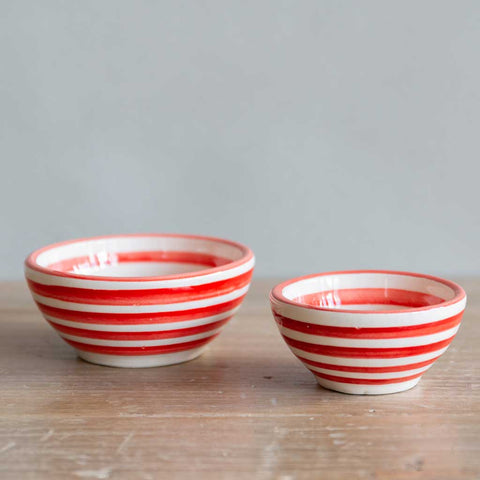 Red Stripe Salt Pincher Bowls